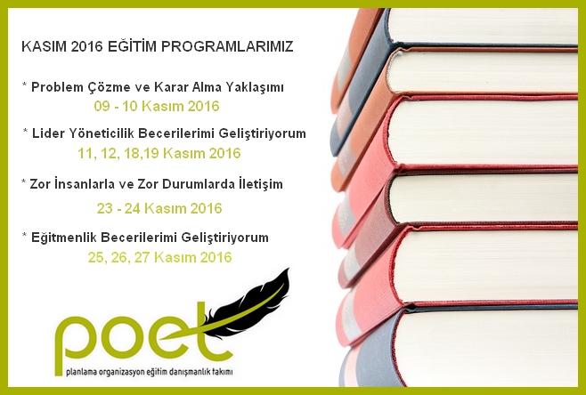 Kasım 2016 Eğitim Programlarımız