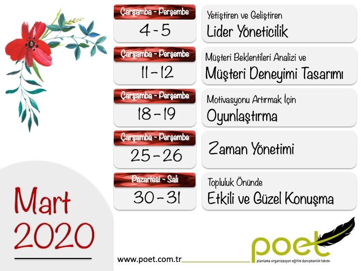 POET Eğitim Mart 2020 Genel Katılıma Açık Eğitim Takvimi